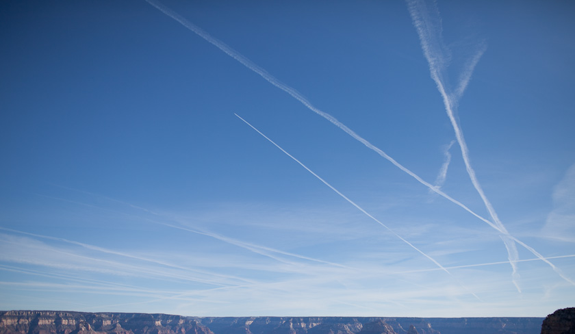 you can see a lot of plane trails here.