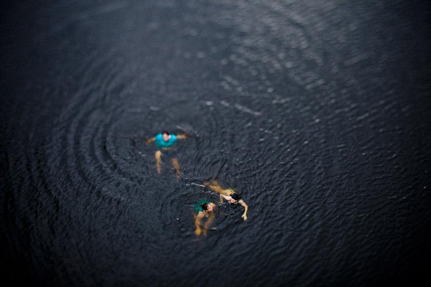 random kids swimming.
