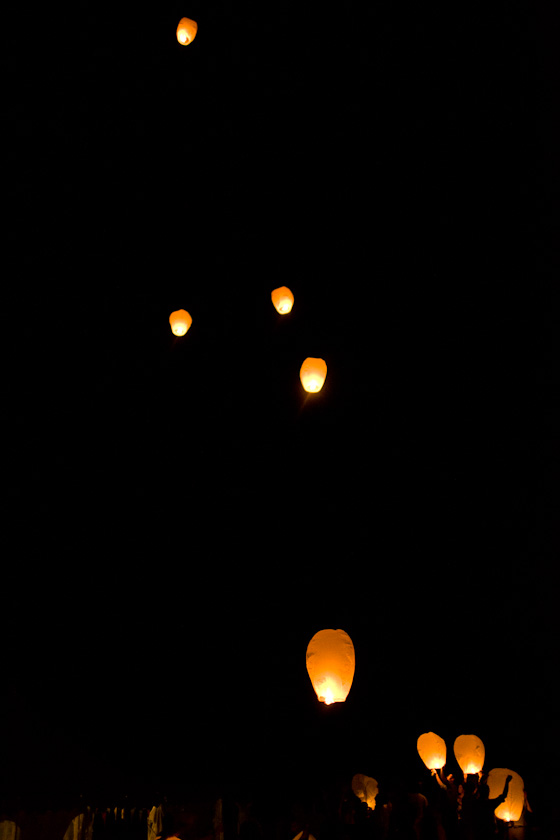Floating Chinese Lanterns at Wedding