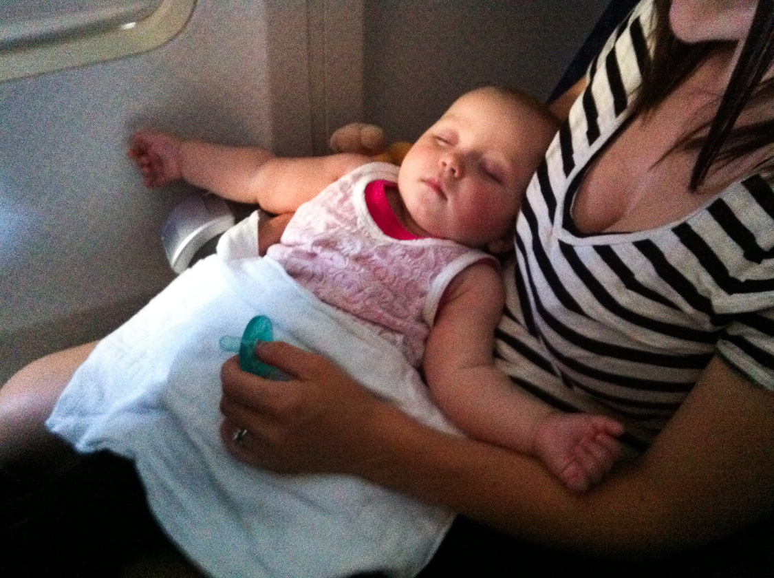 sleeping on a plane.